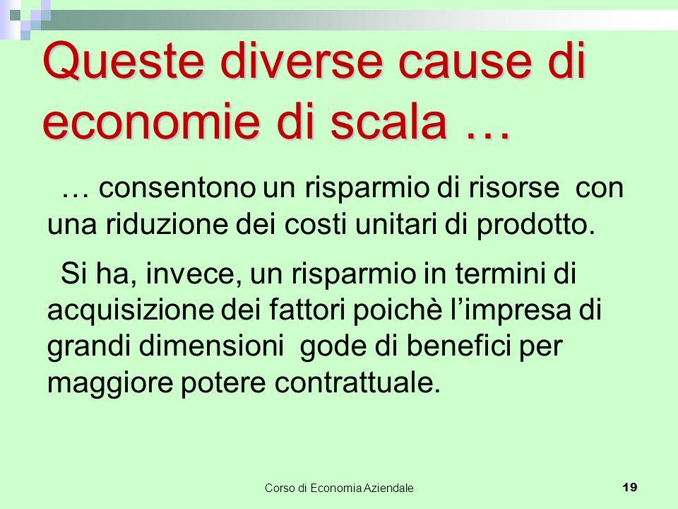 Queste diverse cause di economie di scala … … consentono un risparmio di risorse con una riduzione dei costi unitari di prodotto. Si ha, invece, un ri