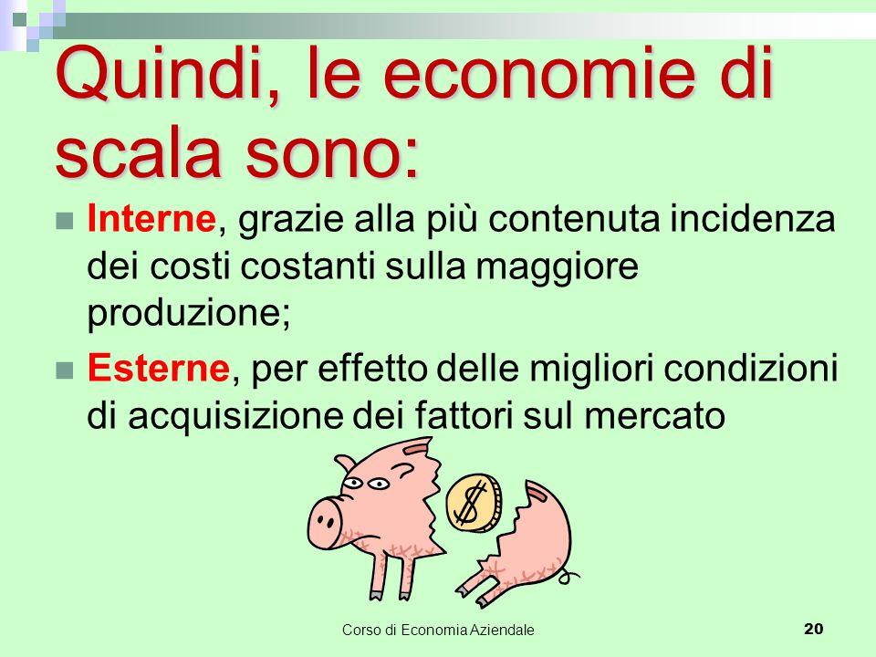 Corso di Economia Aziendale 20 Quindi, le economie di scala sono: Interne, grazie alla più contenuta incidenza dei costi costanti sulla maggiore produ