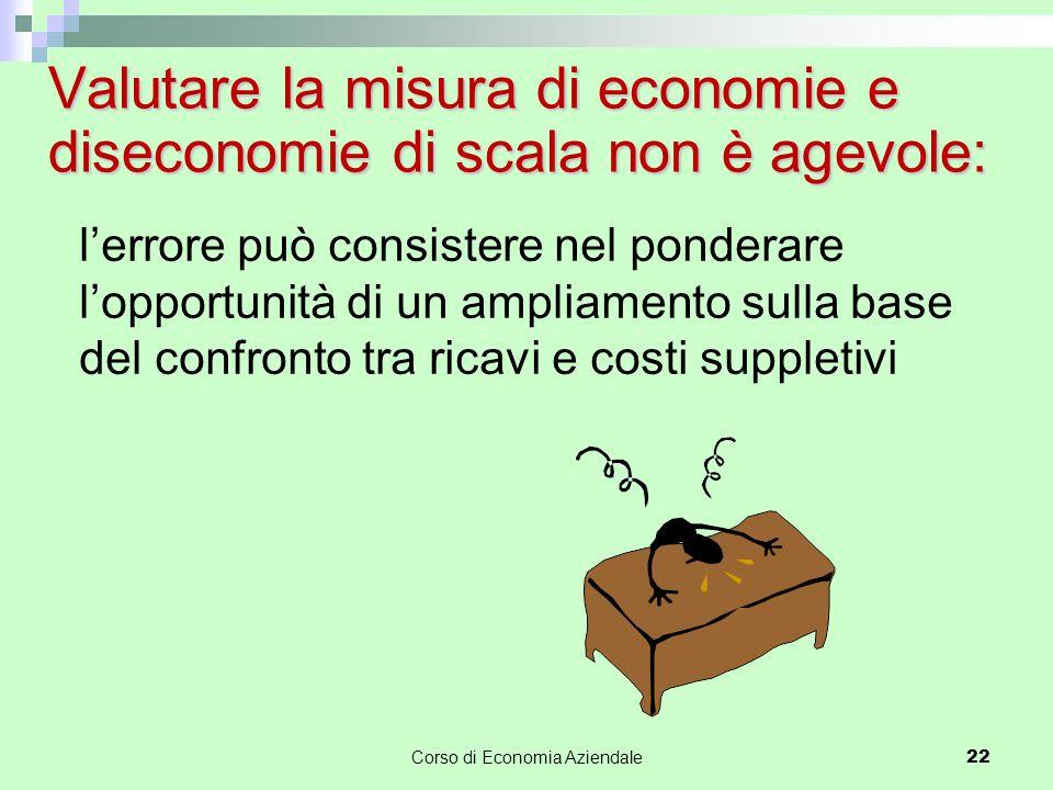 Corso di Economia Aziendale 22 Valutare la misura di economie e diseconomie di scala non è agevole: l'errore può consistere nel ponderare l'opportunit