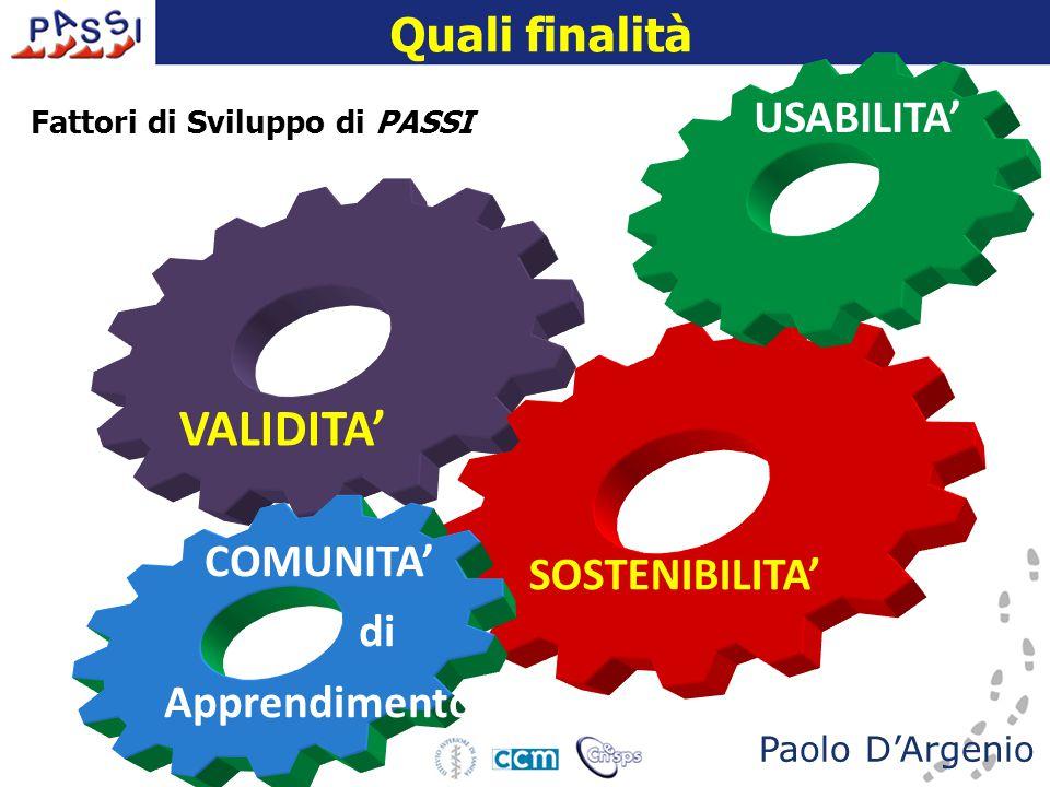 16 dicembre 2009 VALIDITA' SOSTENIBILITA' USABILITA'COMUNITA' di Apprendimento Paolo D'Argenio Fattori di Sviluppo di PASSI Quali finalità