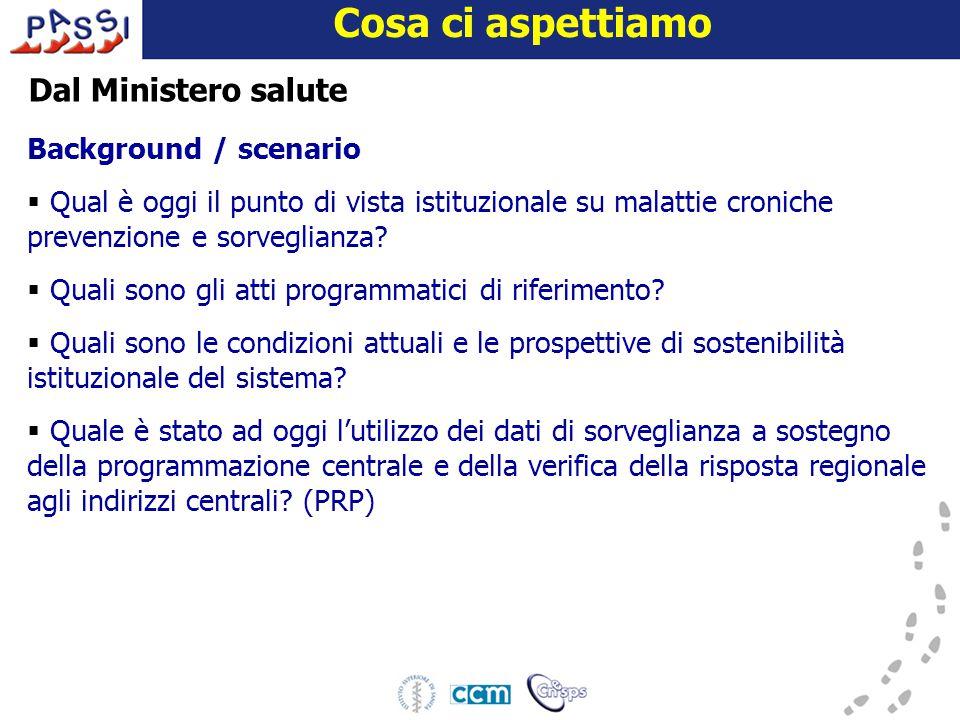 16 dicembre 2009 Cosa ci aspettiamo Background / scenario  Qual è oggi il punto di vista istituzionale su malattie croniche prevenzione e sorveglianza.