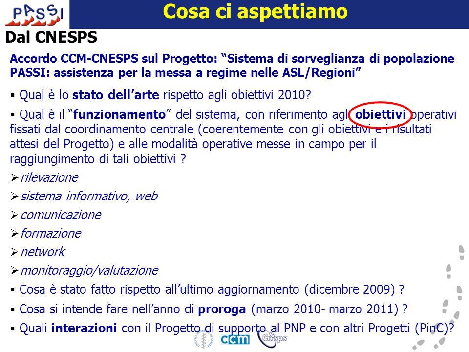 16 dicembre 2009 Cosa ci aspettiamo Dal CNESPS Accordo CCM-CNESPS sul Progetto: Sistema di sorveglianza di popolazione PASSI: assistenza per la messa a regime nelle ASL/Regioni  Qual è lo stato dell'arte rispetto agli obiettivi 2010.
