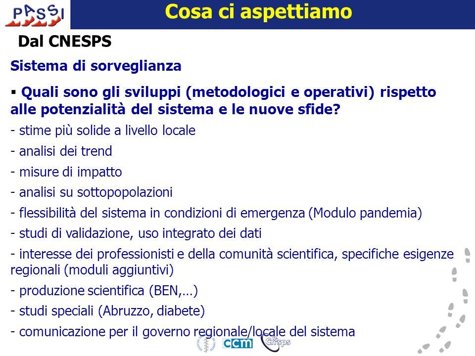 16 dicembre 2009 Cosa ci aspettiamo Dal CNESPS Sistema di sorveglianza  Quali sono gli sviluppi (metodologici e operativi) rispetto alle potenzialità del sistema e le nuove sfide.