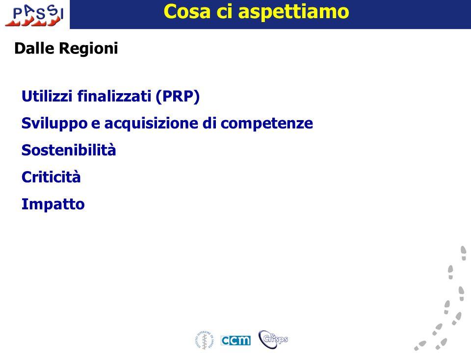 16 dicembre 2009 Cosa ci aspettiamo Dalle Regioni Utilizzi finalizzati (PRP) Sviluppo e acquisizione di competenze Sostenibilità Criticità Impatto