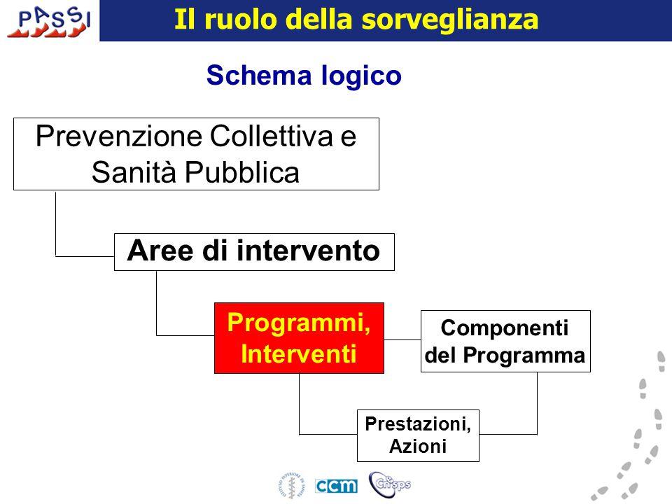 16 dicembre 2009 Schema logico Aree di intervento Programmi, Interventi Prestazioni, Azioni Prevenzione Collettiva e Sanità Pubblica Componenti del Programma Il ruolo della sorveglianza