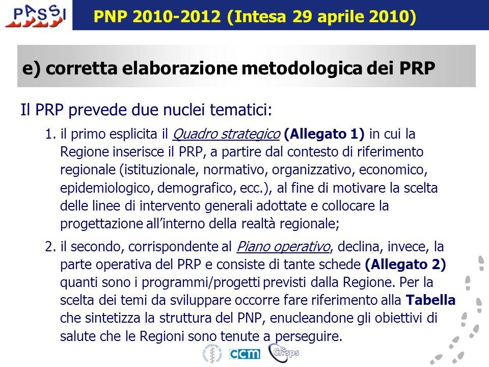 16 dicembre 2009 e) corretta elaborazione metodologica dei PRP Il PRP prevede due nuclei tematici: 1.