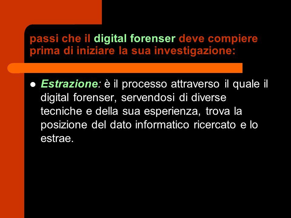 passi che il digital forenser deve compiere prima di iniziare la sua investigazione: Estrazione: è il processo attraverso il quale il digital forenser, servendosi di diverse tecniche e della sua esperienza, trova la posizione del dato informatico ricercato e lo estrae.