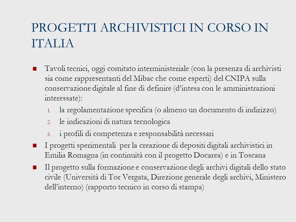 PROGETTI ARCHIVISTICI IN CORSO IN ITALIA Tavoli tecnici, oggi comitato interministeriale (con la presenza di archivisti sia come rappresentanti del Mibac che come esperti) del CNIPA sulla conservazione digitale al fine di definire (d'intesa con le amministrazioni interessate): 1.