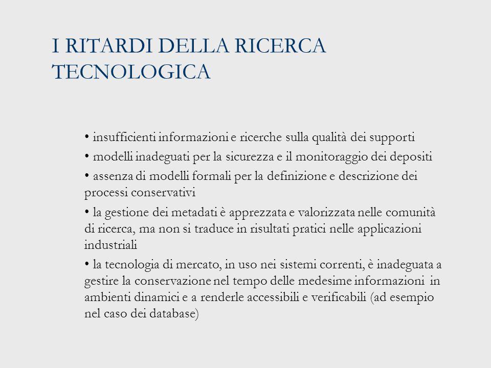 I PROGETTI IN CORSO IN EUROPA Progetto PLANET per la conservazione dei documenti biblioteconomici e di e-government (2006-2009) Progetto CASPAR per la consevazione dei documenti prodotti in ambito scientifico, culturale e delle perfoming arts (2006-2009) DPE: una rete europea di supporto in continuità con ERPANET (Digital Preservation Europe) (2006-2009) Il progetto DELOS con specifico riferimento al Work Package dedicato alla ricerca sulla conservazione di digital library e digital archives in quanto universal knowledge repositories and communication conduits for the future (2004-2007) InterPARES 3 (2007-2011): gruppi nazionali all'interno e in continuità con il progetto internazionale InterPARES 1 e 2