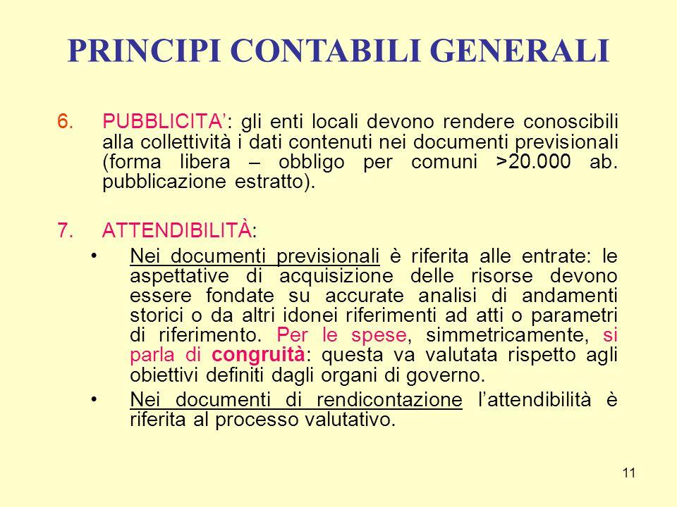 11 6.PUBBLICITA': gli enti locali devono rendere conoscibili alla collettività i dati contenuti nei documenti previsionali (forma libera – obbligo per comuni >20.000 ab.