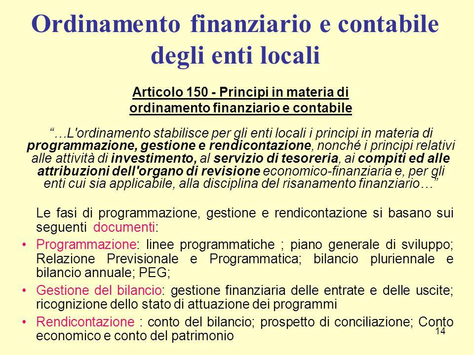 """14 Articolo 150 - Principi in materia di ordinamento finanziario e contabile """"…L'ordinamento stabilisce per gli enti locali i principi in materia di p"""