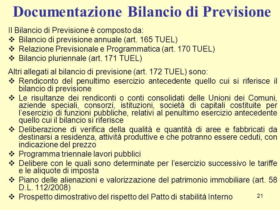 21 Il Bilancio di Previsione è composto da:  Bilancio di previsione annuale (art. 165 TUEL)  Relazione Previsionale e Programmatica (art. 170 TUEL)