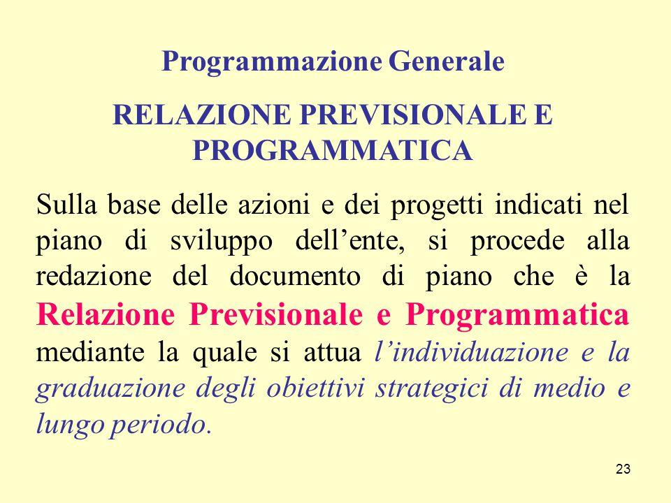 23 Programmazione Generale RELAZIONE PREVISIONALE E PROGRAMMATICA Sulla base delle azioni e dei progetti indicati nel piano di sviluppo dell'ente, si
