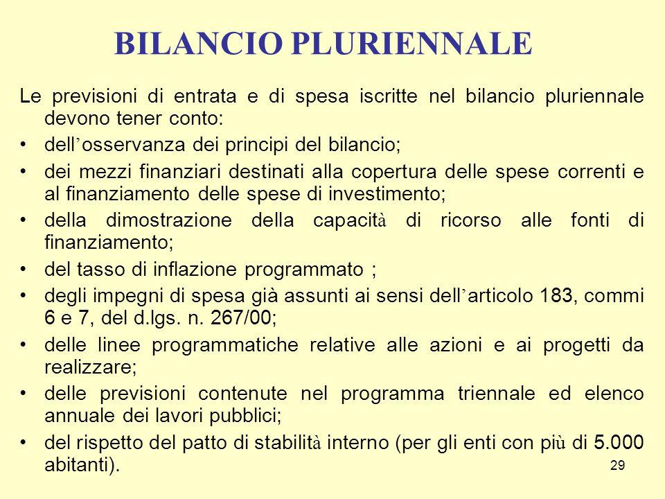 29 Le previsioni di entrata e di spesa iscritte nel bilancio pluriennale devono tener conto: dell ' osservanza dei principi del bilancio; dei mezzi fi