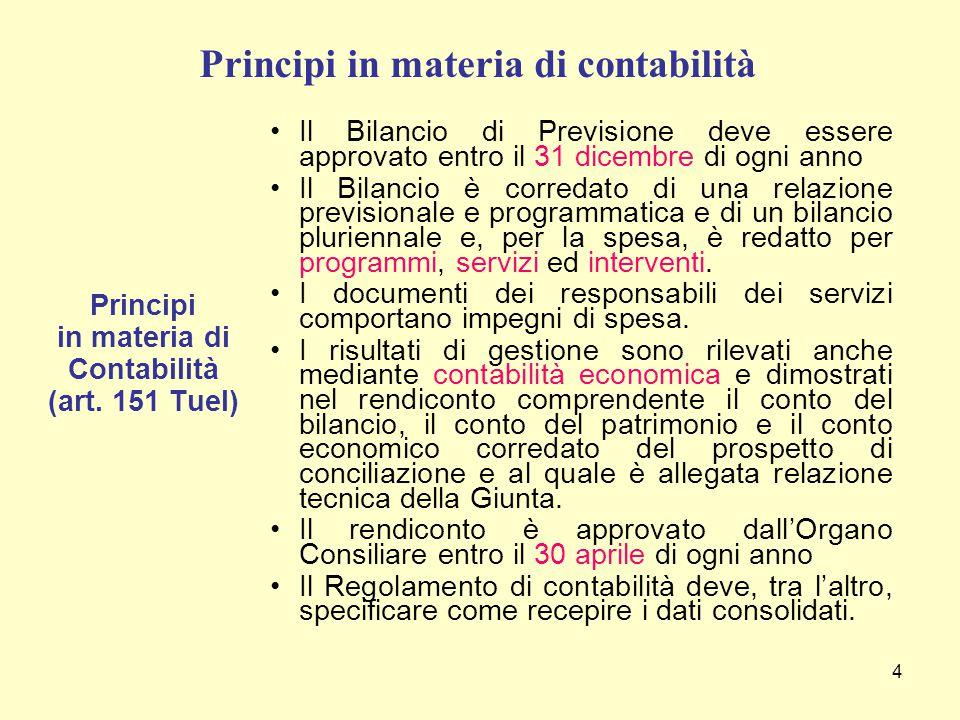 4 Principi in materia di contabilità Principi in materia di Contabilità (art. 151 Tuel) Il Bilancio di Previsione deve essere approvato entro il 31 di