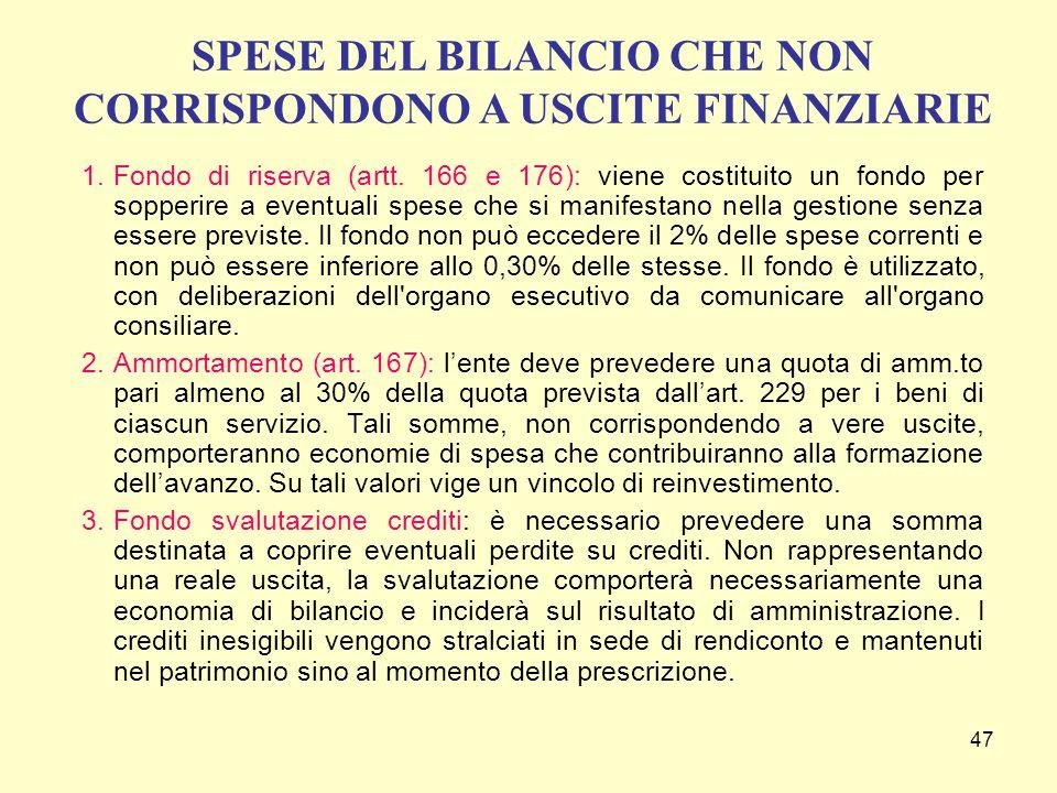 47 1.Fondo di riserva (artt. 166 e 176): viene costituito un fondo per sopperire a eventuali spese che si manifestano nella gestione senza essere prev