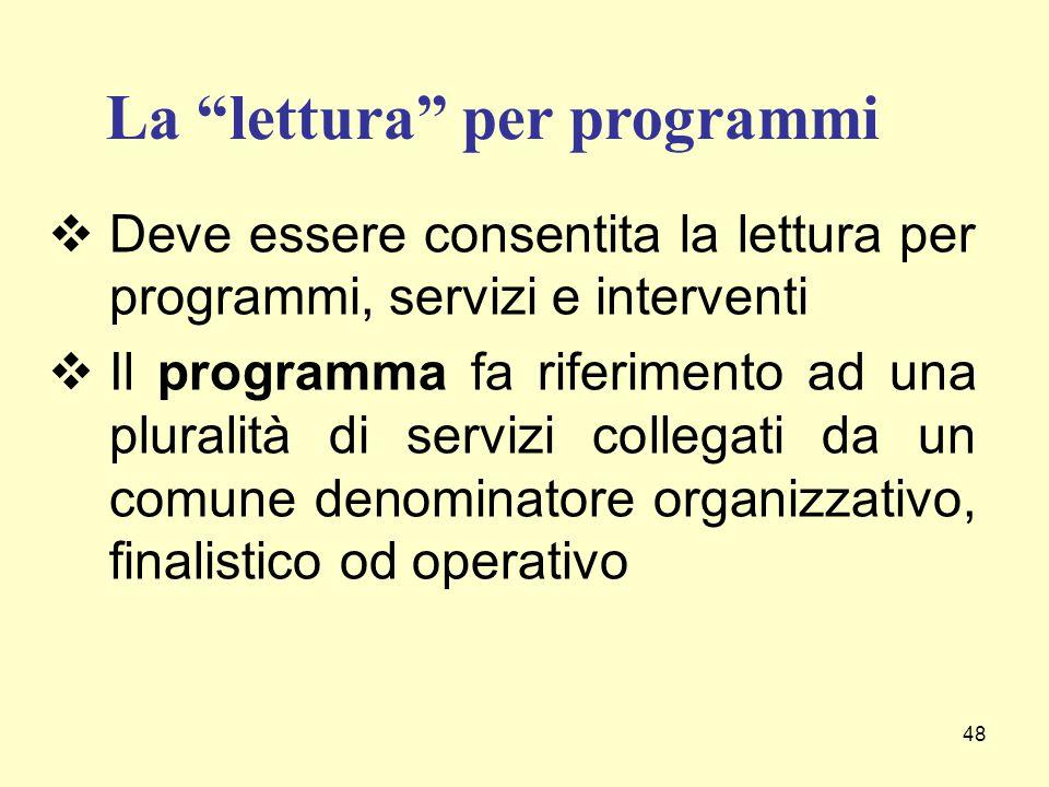 48  Deve essere consentita la lettura per programmi, servizi e interventi  Il programma fa riferimento ad una pluralità di servizi collegati da un c