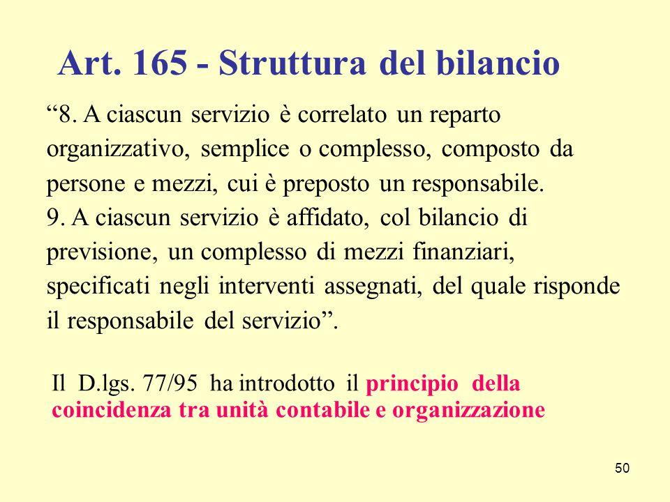 """50 """"8. A ciascun servizio è correlato un reparto organizzativo, semplice o complesso, composto da persone e mezzi, cui è preposto un responsabile. 9."""