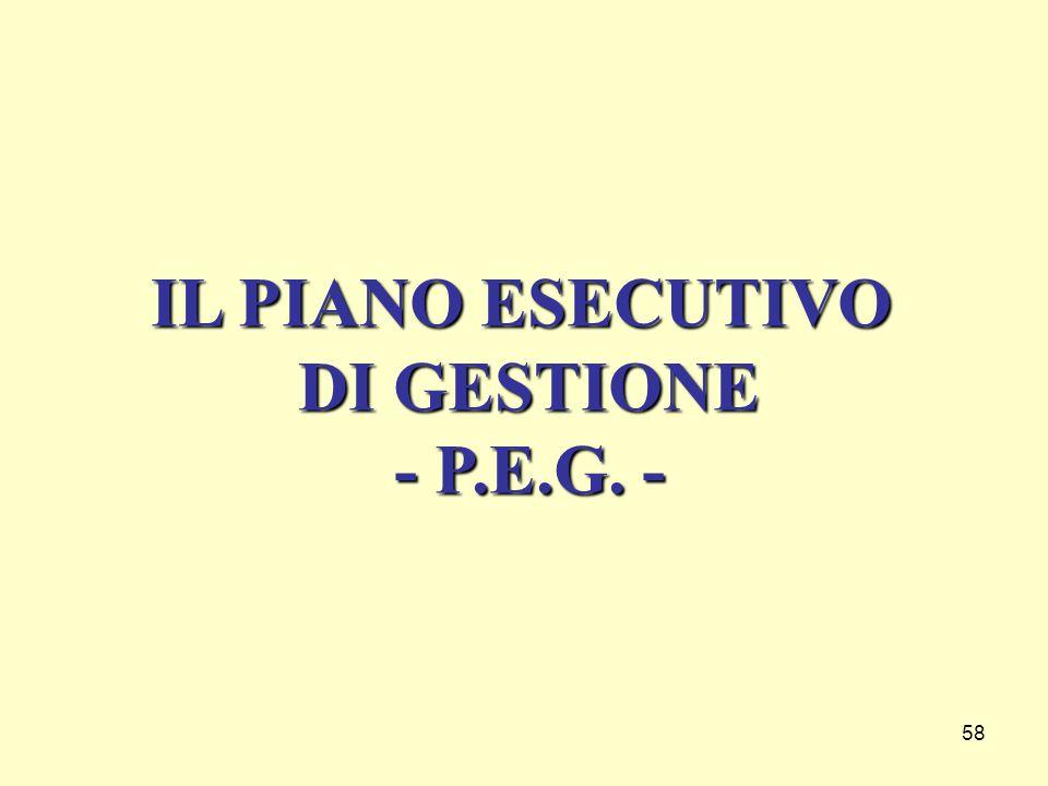 58 IL PIANO ESECUTIVO DI GESTIONE - P.E.G. -