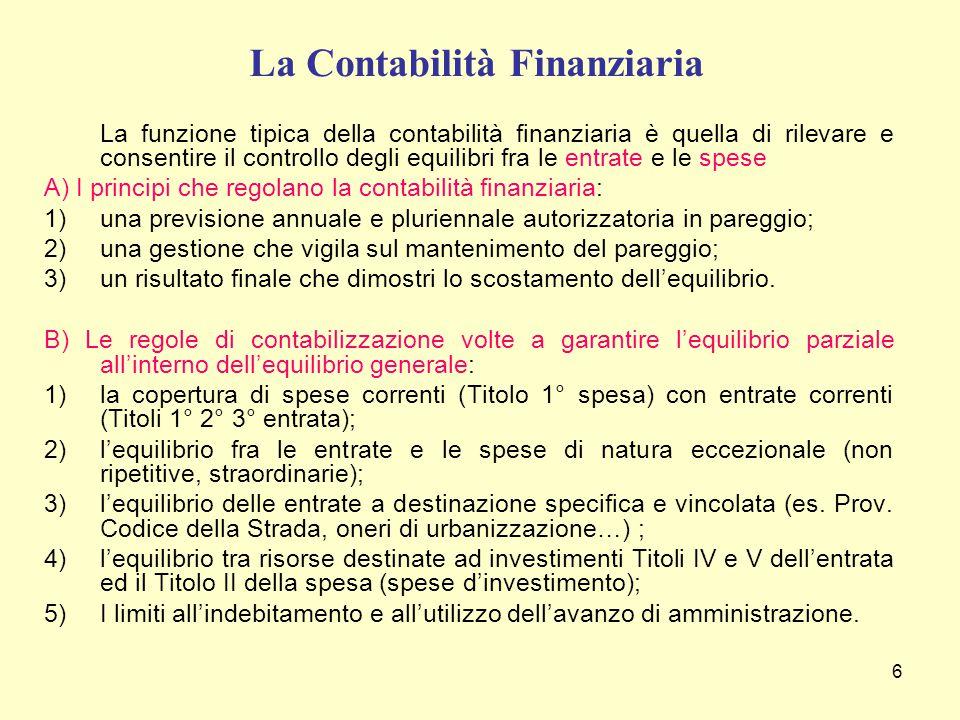 6 La Contabilità Finanziaria La funzione tipica della contabilità finanziaria è quella di rilevare e consentire il controllo degli equilibri fra le en
