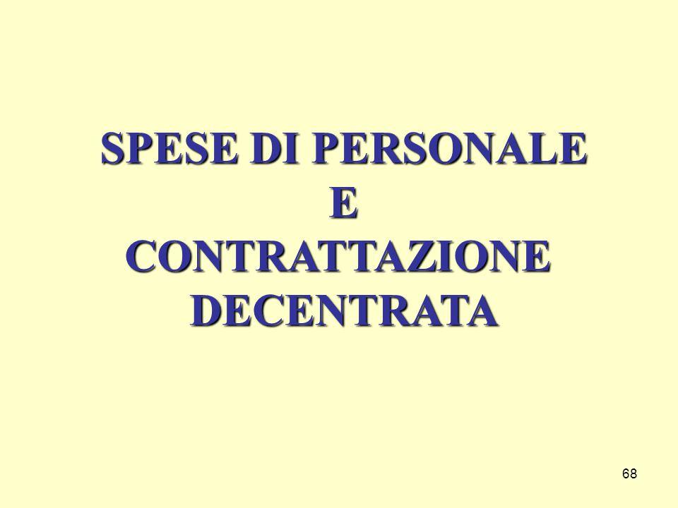 68 SPESE DI PERSONALE ECONTRATTAZIONEDECENTRATA