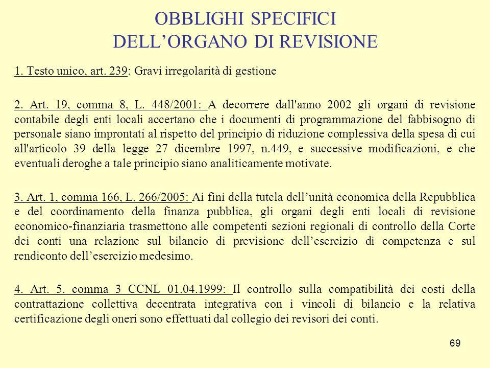 69 OBBLIGHI SPECIFICI DELL'ORGANO DI REVISIONE 1. Testo unico, art. 239: Gravi irregolarità di gestione 2. Art. 19, comma 8, L. 448/2001: A decorrere