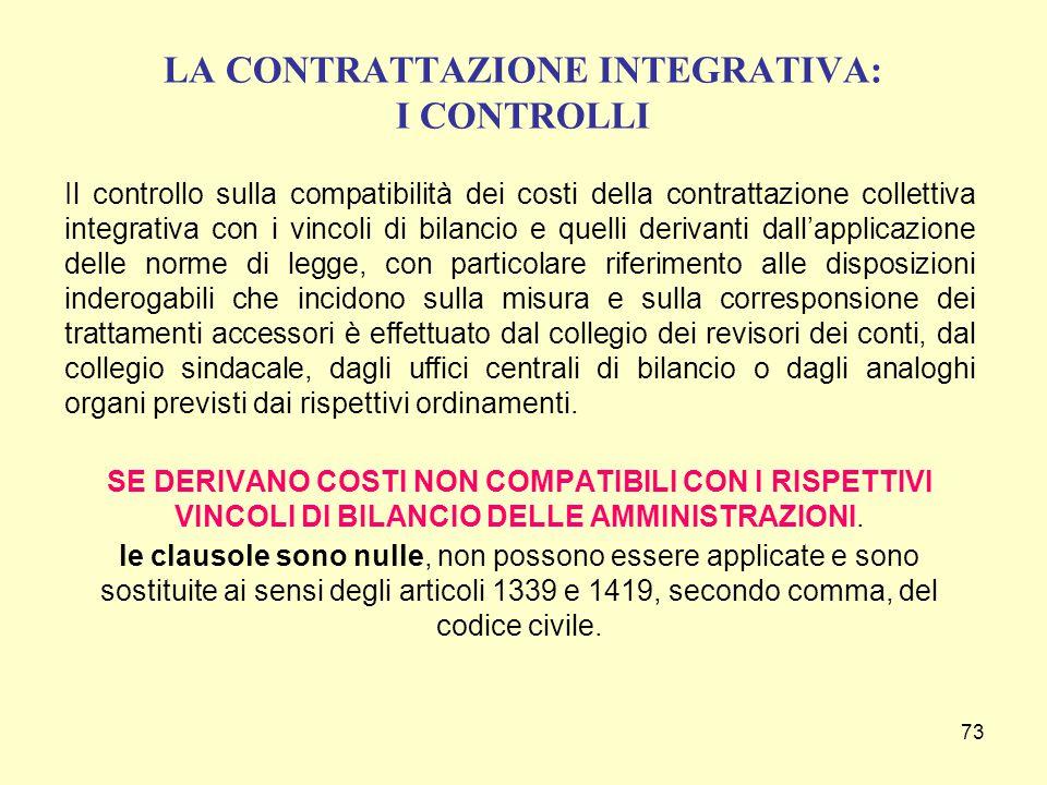 73 LA CONTRATTAZIONE INTEGRATIVA: I CONTROLLI Il controllo sulla compatibilità dei costi della contrattazione collettiva integrativa con i vincoli di