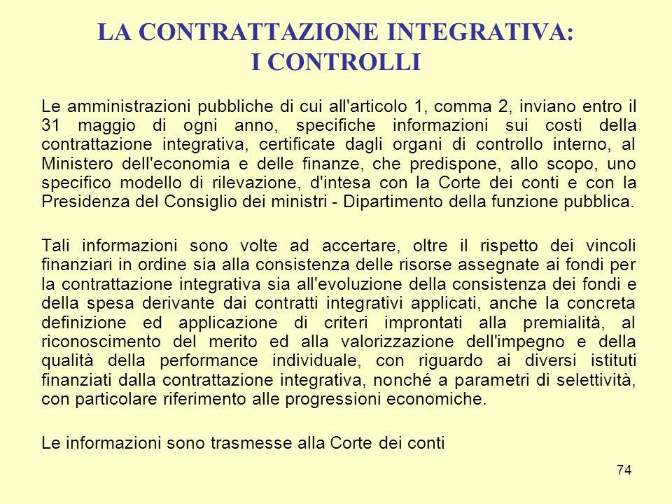 74 LA CONTRATTAZIONE INTEGRATIVA: I CONTROLLI Le amministrazioni pubbliche di cui all'articolo 1, comma 2, inviano entro il 31 maggio di ogni anno, sp
