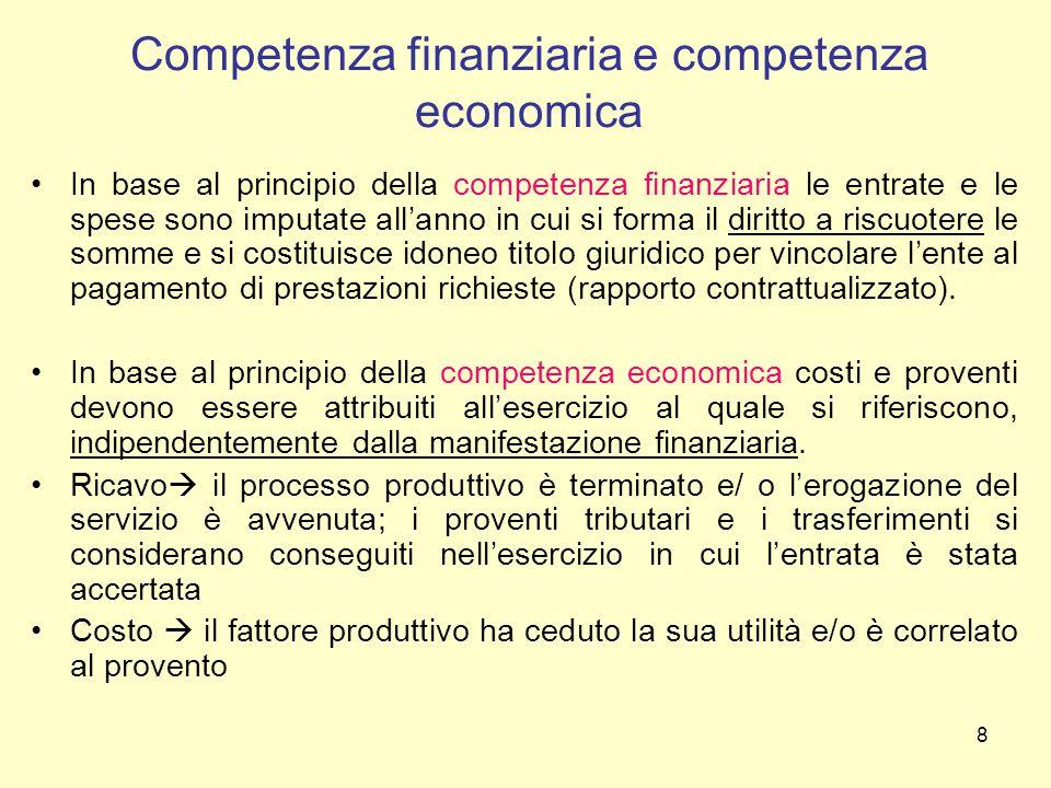8 Competenza finanziaria e competenza economica In base al principio della competenza finanziaria le entrate e le spese sono imputate all'anno in cui