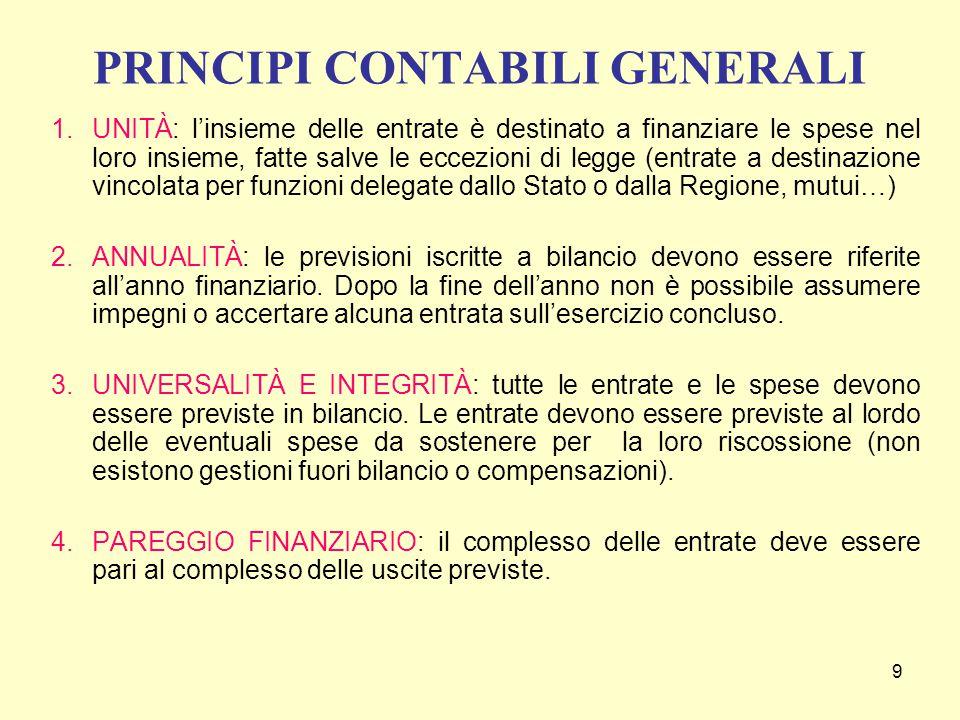 9 PRINCIPI CONTABILI GENERALI 1.UNITÀ: l'insieme delle entrate è destinato a finanziare le spese nel loro insieme, fatte salve le eccezioni di legge (