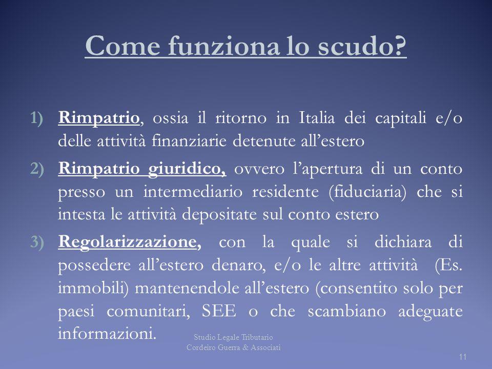 Come funziona lo scudo? 1) Rimpatrio, ossia il ritorno in Italia dei capitali e/o delle attività finanziarie detenute all'estero 2) Rimpatrio giuridic