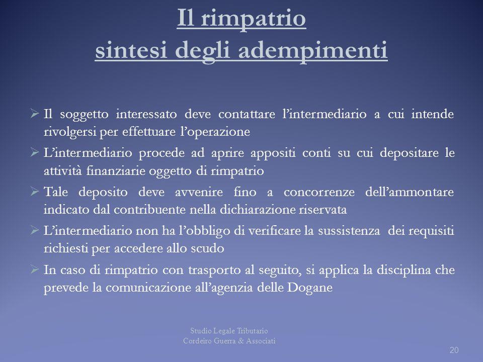 20 Il rimpatrio sintesi degli adempimenti  Il soggetto interessato deve contattare l'intermediario a cui intende rivolgersi per effettuare l'operazio