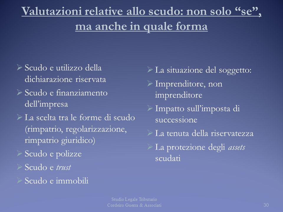"""Valutazioni relative allo scudo: non solo """"se"""", ma anche in quale forma  Scudo e utilizzo della dichiarazione riservata  Scudo e finanziamento dell'"""