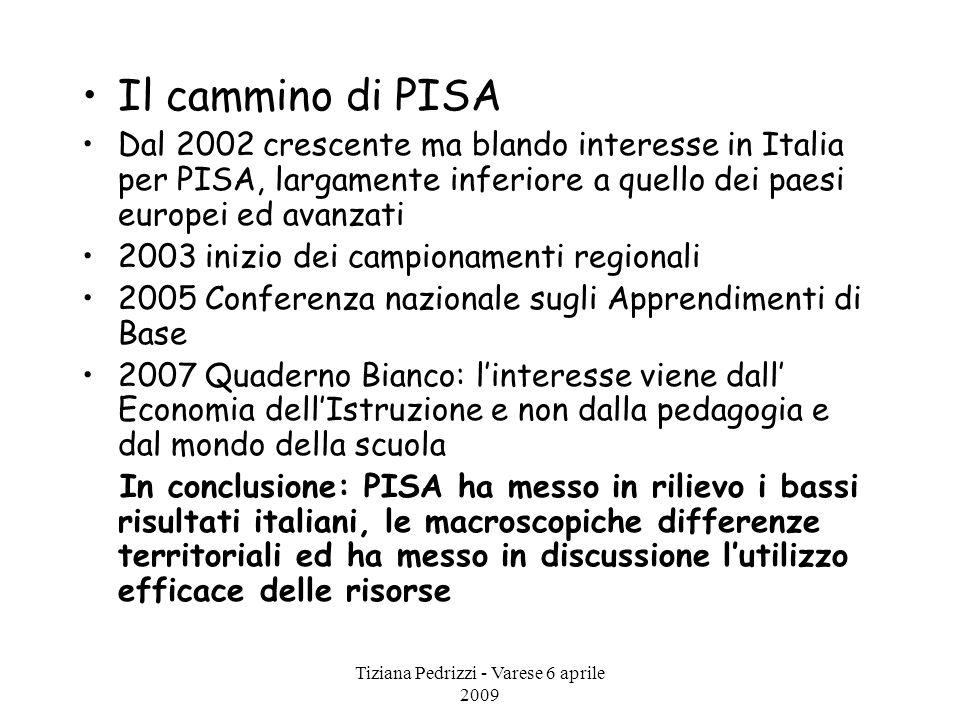 Tiziana Pedrizzi - Varese 6 aprile 2009 Il cammino di PISA Dal 2002 crescente ma blando interesse in Italia per PISA, largamente inferiore a quello de