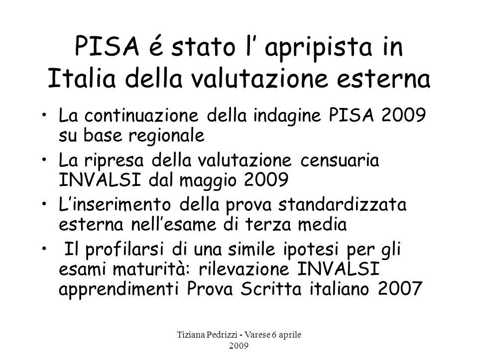 Tiziana Pedrizzi - Varese 6 aprile 2009 PISA é stato l' apripista in Italia della valutazione esterna La continuazione della indagine PISA 2009 su bas