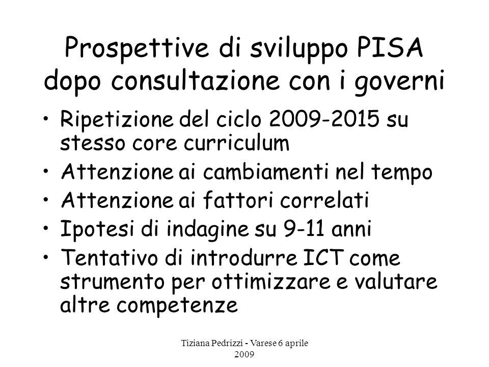 Tiziana Pedrizzi - Varese 6 aprile 2009 Prospettive di sviluppo PISA dopo consultazione con i governi Ripetizione del ciclo 2009-2015 su stesso core c