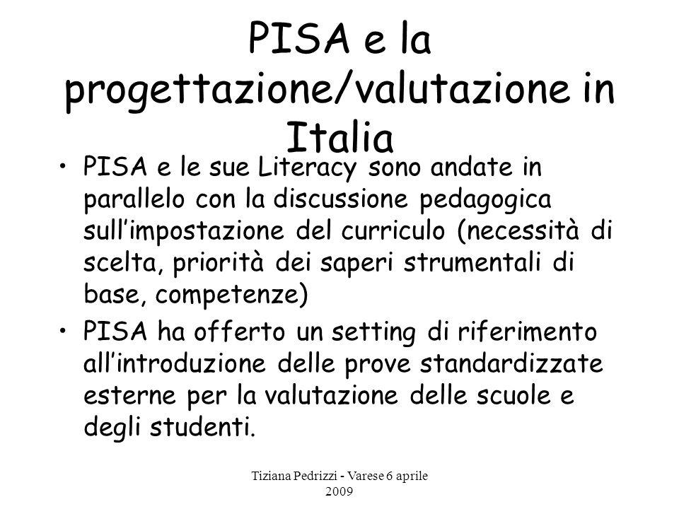 Tiziana Pedrizzi - Varese 6 aprile 2009 PISA e la progettazione/valutazione in Italia PISA e le sue Literacy sono andate in parallelo con la discussio