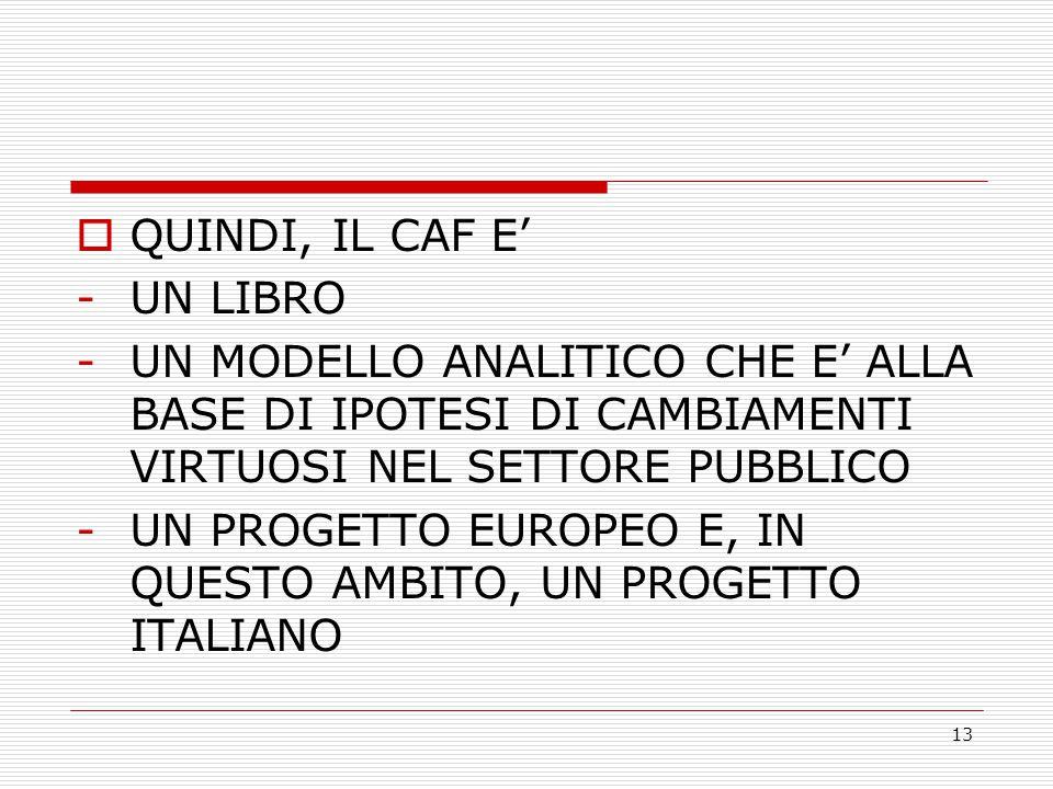 13  QUINDI, IL CAF E' -UN LIBRO -UN MODELLO ANALITICO CHE E' ALLA BASE DI IPOTESI DI CAMBIAMENTI VIRTUOSI NEL SETTORE PUBBLICO -UN PROGETTO EUROPEO E, IN QUESTO AMBITO, UN PROGETTO ITALIANO