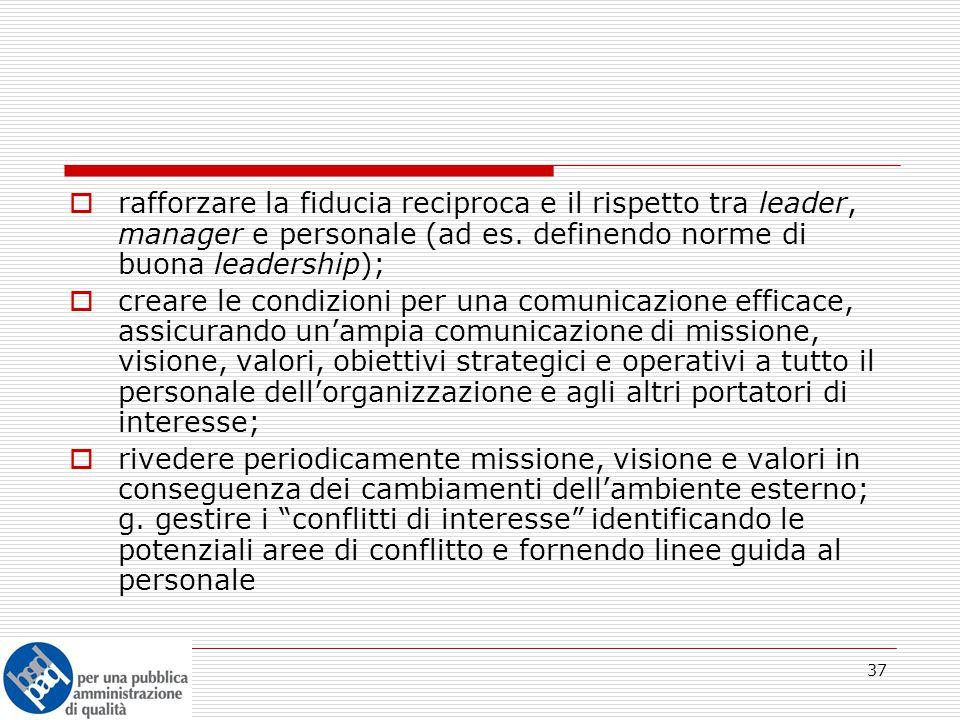 37  rafforzare la fiducia reciproca e il rispetto tra leader, manager e personale (ad es.