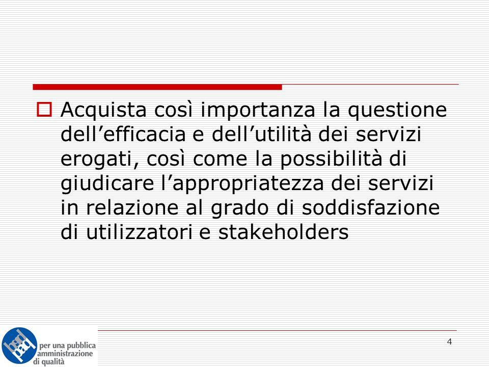 5  In questa direzione, una prospettiva di modernizzazione amministrativa orientata in modo complessivo alla GESTIONE DI QUALITA' dei servizi pubblici arricchisce le politiche di miglioramento della PA, poichè: