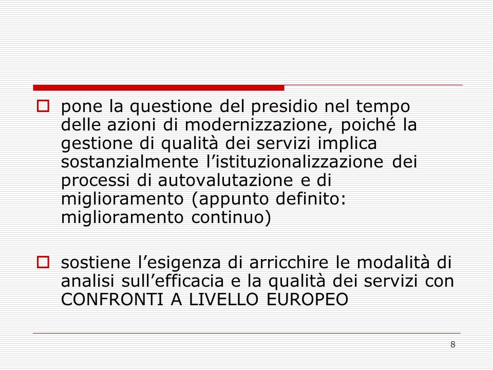 8  pone la questione del presidio nel tempo delle azioni di modernizzazione, poiché la gestione di qualità dei servizi implica sostanzialmente l'istituzionalizzazione dei processi di autovalutazione e di miglioramento (appunto definito: miglioramento continuo)  sostiene l'esigenza di arricchire le modalità di analisi sull'efficacia e la qualità dei servizi con CONFRONTI A LIVELLO EUROPEO