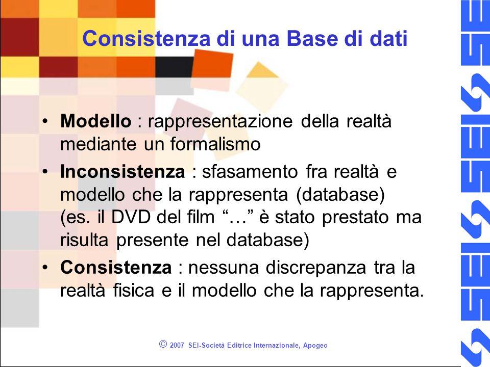 Consistenza di una Base di dati Modello : rappresentazione della realtà mediante un formalismo Inconsistenza : sfasamento fra realtà e modello che la
