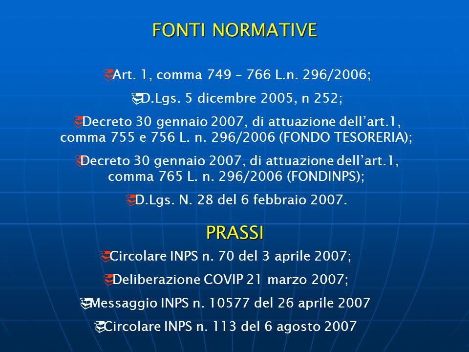 FONTI NORMATIVE  Art. 1, comma 749 – 766 L.n. 296/2006;  D.Lgs. 5 dicembre 2005, n 252;  Decreto 30 gennaio 2007, di attuazione dell'art.1, comma 7