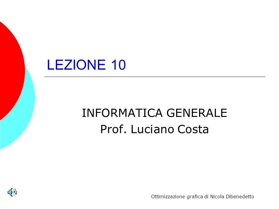 LEZIONE 10 INFORMATICA GENERALE Prof. Luciano Costa Ottimizzazione grafica di Nicola Dibenedetto