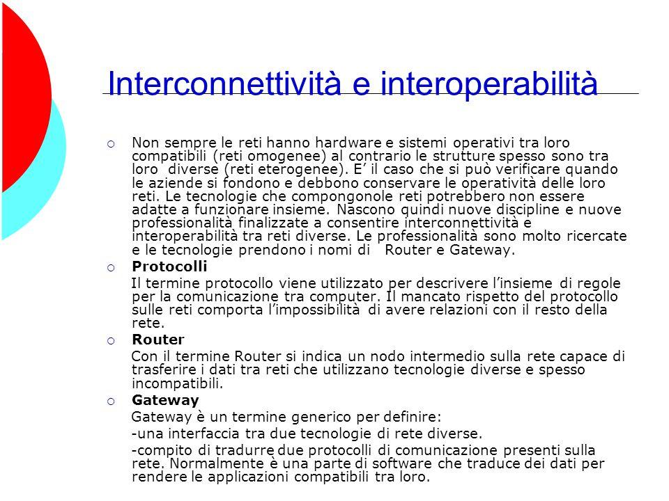 Interconnettività e interoperabilità  Non sempre le reti hanno hardware e sistemi operativi tra loro compatibili (reti omogenee) al contrario le strutture spesso sono tra loro diverse (reti eterogenee).