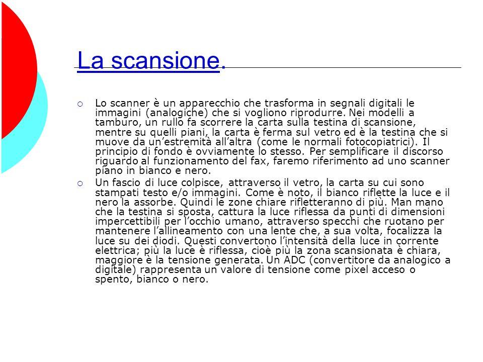 La scansione.  Lo scanner è un apparecchio che trasforma in segnali digitali le immagini (analogiche) che si vogliono riprodurre. Nei modelli a tambu