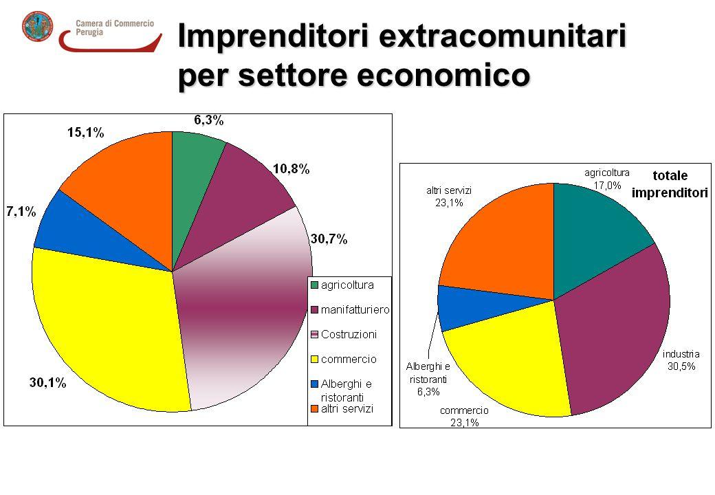 Imprenditori extracomunitari per settore economico