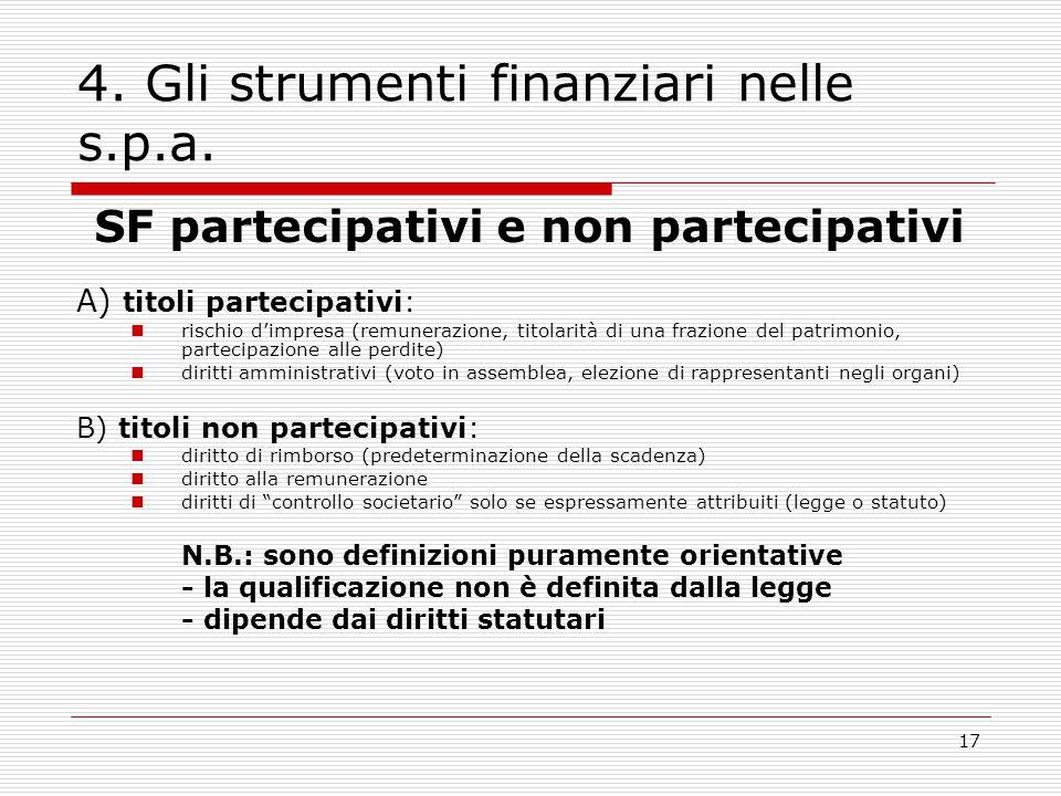 17 4. Gli strumenti finanziari nelle s.p.a. SF partecipativi e non partecipativi A) titoli partecipativi: rischio d'impresa (remunerazione, titolarità