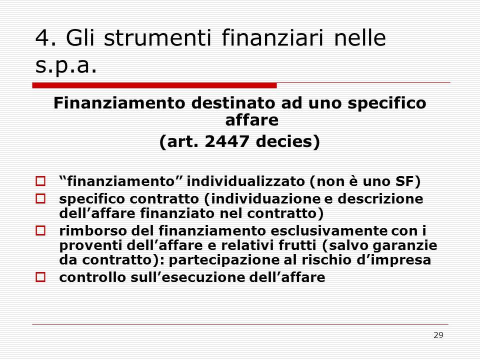 """29 4. Gli strumenti finanziari nelle s.p.a. Finanziamento destinato ad uno specifico affare (art. 2447 decies)  """"finanziamento"""" individualizzato (non"""
