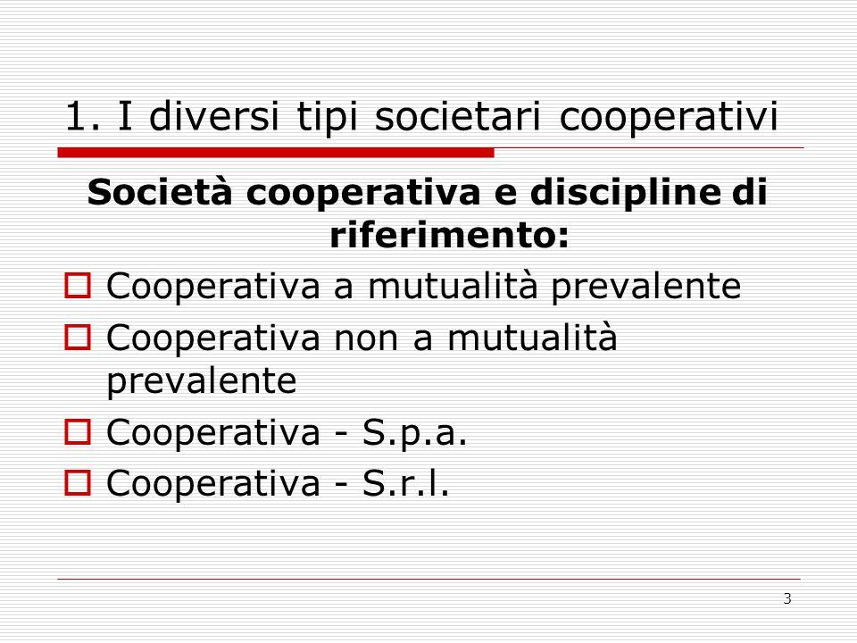 3 1. I diversi tipi societari cooperativi Società cooperativa e discipline di riferimento:  Cooperativa a mutualità prevalente  Cooperativa non a mu